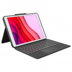"""Logitech COMBO TOUCH backlit keyboard case with trackpad and Smart Connector for iPad 10.2"""" (7th and 8th gen) - Graphite (920-009608)"""