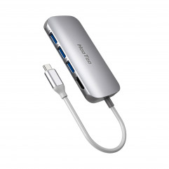 USB-хаб HooToo USB C Hub 7-in-1 Adapter with Ethernet Port Silver (HT-UC008)