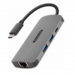 Sitecom USB-C to Gigabit LAN Adapter with USB-C to Power Delivery + 2 USB 3.0 (CN-378)