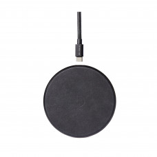 Беспроводное зарядное устройство DECODED Wireless Fast Charger Leather Pad 10W (7.5W) Black Metal/Black Leather (D8WC1BK)