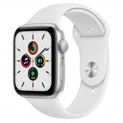 Apple Watch SE GPS 44mm Silver Aluminum Case with White Sport Band (MYDQ2)