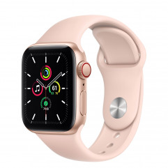 Apple Watch SE GPS + Cellular 40mm Gold Aluminum Case with Pink Sand Sport Band (MYEA2, MYEH2)