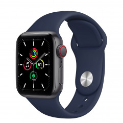 Apple Watch SE GPS + Cellular 40mm Space Gray Aluminum Case with Deep Navy Sport Band (MYF42, MYF72)
