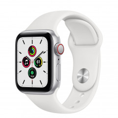Apple Watch SE GPS + Cellular 40mm Silver Aluminum Case with White Sport Band  (MYE82, MYEF2)