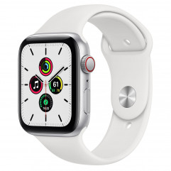 Apple Watch SE GPS + Cellular 44mm Silver Aluminum Case with White Sport Band (MYEM2, MYEV2)
