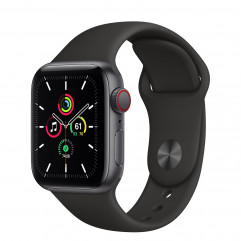Apple Watch SE GPS + Cellular 40mm Space Gray Aluminum Case with Black Sport Band (MYED2, MYEK2)