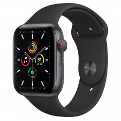 Apple Watch SE GPS + Cellular 44mm Space Gray Aluminum Case with Black Sport Band (MYER2, MYF02)