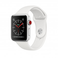 Apple Watch Series 3 (GPS + Cellular) 38mm Silver Aluminum Case with White Sport Band (MTGG2)