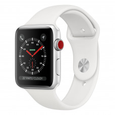 Apple Watch Series 3 (GPS + Cellular) 42mm Silver Aluminum Case with White Sport Band (MTGR2)