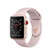 Apple Watch Series 3 (GPS + Cellular) 38mm Gold Aluminum Case with Pink Sand Sport Band (MQJQ2, MQKH2)