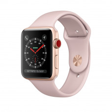 Apple Watch Series 3 (GPS + Cellular) 42mm Gold Aluminum Case with Pink Sand Sport Band (MQK32, MQKP2)