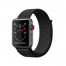 Apple Watch Series 3 (GPS + Cellular) 38mm Space Gray Aluminum Case with Black Sport Loop (MRQE2, MRQG2)