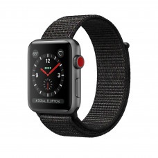 Apple Watch Series 3 (GPS + Cellular) 42mm Space Gray Aluminum Case with Black Sport Loop (MRQF2, MRQH2)