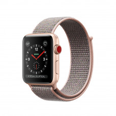 Apple Watch Series 3 (GPS + Cellular) 38mm Gold Aluminum Case with Pink Sand Sport Loop (MQJU2)