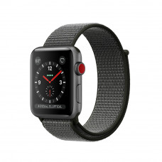 Apple Watch Series 3 (GPS + Cellular) 38mm Space Gray Aluminum Case with Dark Olive Sport Loop (MQJT2)