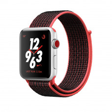 Apple Watch Series 3 Nike+ (GPS + Cellular) 42mm Silver Aluminum Case with Bright Crimson/Black Nike Sport Loop (MQLE2, MQMG2)