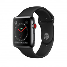 Apple Watch Series 3 (GPS + Cellular) 42mm Space Black Stainless Steel Case with Black Sport Band (MQK92, MQM02)