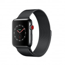 Apple Watch Series 3 (GPS + Cellular) 38mm Space Black Stainless Steel Case with Space Black Milanese Loop (MR1H2, MR1Q2)