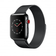 Apple Watch Series 3 (GPS + Cellular) 42mm Space Black Stainless Steel Case with Space Black Milanese Loop (MR1L2, MR1V2) В ПОДАРОК ОРИГИНАЛЬНЫЙ ЧЕРНЫЙ СПОРТИВНЫЙ РЕМЕШОК