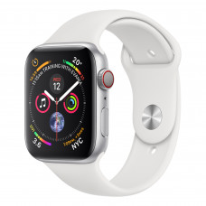 Apple Watch Series 4 (GPS + Cellular) 44mm Silver Aluminum Case with White Sport Band (MTUU2, MTVR2)