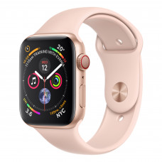 Apple Watch Series 4 (GPS + Cellular) 44mm Gold Aluminum Case with Pink Sand Sport Band (MTV02, MTVW2)