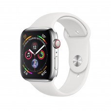 Apple Watch Series 4 (GPS + Cellular) 40mm Stainless Steel Case with White Sport Band (MTUL2, MTVJ2)