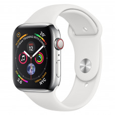 Apple Watch Series 4 (GPS + Cellular) 44mm Stainless Steel Case with White Sport Band (MTV22, MTX02)