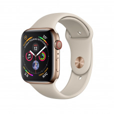 Apple Watch Series 4 (GPS + Cellular) 40mm Gold Stainless Steel Case with Stone Sport Band (MTUR2, MTVN2)