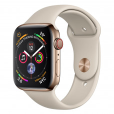 Apple Watch Series 4 (GPS + Cellular) 44mm Gold Stainless Steel Case with Stone Sport Band (MTV72, MTX42)