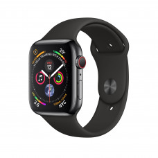 Apple Watch Series 4 (GPS + Cellular) 40mm Space Black Stainless Steel Case with Black Sport Band (MTUN2, MTVL2)