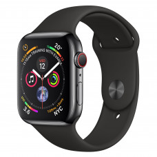 Apple Watch Series 4 (GPS + Cellular) 44mm Space Black Stainless Steel Case with Black Sport Band (MTV52, MTX22)