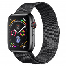 Apple Watch Series 4 (GPS + Cellular) 44mm Space Black Stainless Steel Case with Space Black Milanese Loop (MTV62, MTX32)