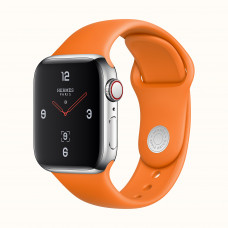 Apple Watch Series 4 Hermès (GPS + Cellular) 40mm Stainless Steel Case with Orange Sport Band (MUFY2)