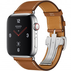 Apple Watch Series 4 Hermès (GPS + Cellular) 44mm Stainless Steel Case with Fauve Barenia Leather Single Tour Deployment Buckle (MU6T2, MU742)