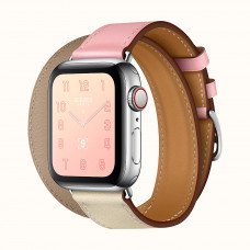 Apple Watch Series 4 Hermès (GPS + Cellular) 40mm Stainless Steel Case with Rose Sakura/Craie/Argile Swift Leather Double Tour (H078731CJAE) комплект состоит с 2-х коробок Hermes - коробка с часами MYFY2 и коробка с ремнем