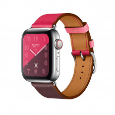 Apple Watch Series 4 Hermès (GPS + Cellular) 40mm Stainless Steel Case with Bordeaux/Rose Extrême/Rose Azalée Swift Leather Single Tour (MU6N2, MU702) комплект состоит с 2-х коробок Hermes - коробка с часами и коробка с ремнем