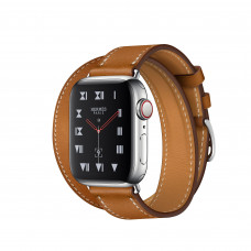 Apple Watch Series 4 Hermès (GPS + Cellular) 40mm Stainless Steel Case with Fauve Barenia Leather Double Tour (MU6P2, MU712)