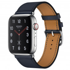Apple Watch Series 4 Hermès (GPS + Cellular) 44mm Stainless Steel Case with Bleu Indigo Swift Leather Single Tour (MU6W2, MU772)