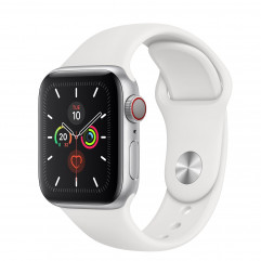 Apple Watch Series 5 GPS + Cellular 40mm Silver Aluminum Case with White Sport Band (MWWN2, MWX12)
