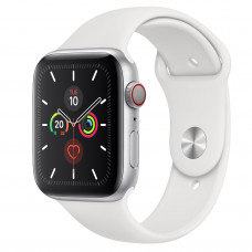 Apple Watch Series 5 GPS + Cellular 44mm Silver Aluminum Case with White Sport Band (MWVY2, MWWC2)