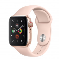 Apple Watch Series 5 GPS + Cellular 40mm Gold Aluminum Case with Pink Sand Sport Band (MWWP2, MWX22)