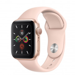 Apple Watch Series 5 GPS 40mm Gold Aluminum Case with Pink Sand Sport Band (MWV72)