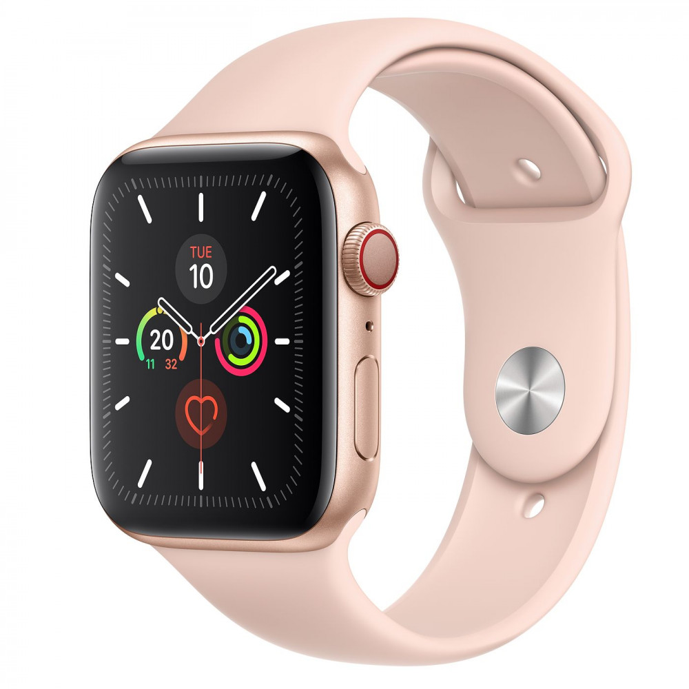 Apple Watch Series 5 GPS + Cellular 44mm Gold Aluminum Case with Pink Sand Sport Band (MWW02, MWWD2)