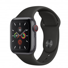 Apple Watch Series 5 GPS + Cellular 40mm Space Gray Aluminum Case with Black Sport Band (MWWQ2, MWX32)