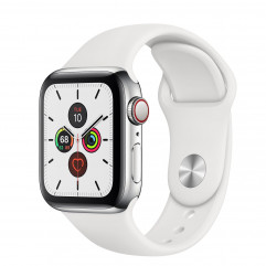 Apple Watch Series 5 GPS + Cellular 40mm Stainless Steel Case with White Sport Band (MWWR2, MWX42)
