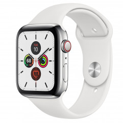 Apple Watch Series 5 GPS + Cellular 44mm Stainless Steel Case with White Sport Band (MWW22, MWWF2)