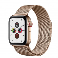 Apple Watch Series 5 GPS + Cellular 40mm Gold Stainless Steel Case with Gold Milanese Loop (MWWV2, MWX72)