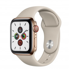 Apple Watch Series 5 GPS + Cellular 40mm Gold Stainless Steel Case with Stone Sport Band (MWWU2, MWX62)