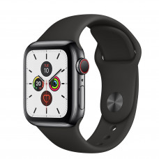 Apple Watch Series 5 GPS + Cellular 40mm Space Black Stainless Steel Case with Black Sport Band (MWWW2, MWX82)