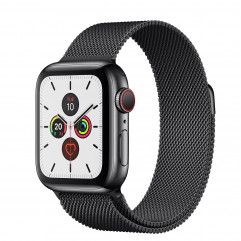 Apple Watch Series 5 GPS + Cellular 40mm Space Black Stainless Steel Case with Space Black Milanese Loop (MWWX2, MWX92)